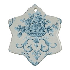 Blue Vintage Floral  Ornament (snowflake) by 8fugoso
