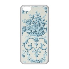 Blue Vintage Floral  Apple Iphone 5c Seamless Case (white) by 8fugoso