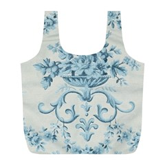 Blue Vintage Floral  Full Print Recycle Bags (l)  by 8fugoso