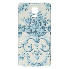 Blue Vintage Floral  Galaxy Note 4 Back Case by 8fugoso