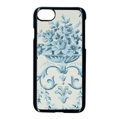 Blue Vintage Floral  Apple Iphone 7 Seamless Case (black) by 8fugoso