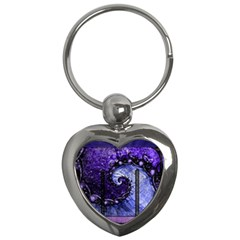 Beautiful Violet Spiral For Nocturne Of Scorpio Key Chains (heart)  by jayaprime