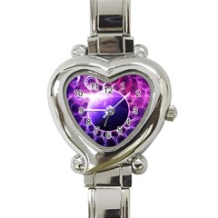 Beautiful Violet Nasa Deep Dream Fractal Mandala Heart Italian Charm Watch by jayaprime
