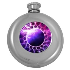 Beautiful Violet Nasa Deep Dream Fractal Mandala Round Hip Flask (5 Oz) by jayaprime