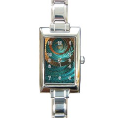 Beautiful Leather & Blue Turquoise Fractal Jewelry Rectangle Italian Charm Watch by jayaprime