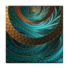 Beautiful Leather & Blue Turquoise Fractal Jewelry Tile Coasters by jayaprime