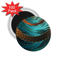 Beautiful Leather & Blue Turquoise Fractal Jewelry 2 25  Magnets (100 Pack)  by jayaprime