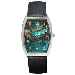 Beautiful Leather & Blue Turquoise Fractal Jewelry Barrel Style Metal Watch by jayaprime