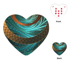 Beautiful Leather & Blue Turquoise Fractal Jewelry Playing Cards (heart)  by jayaprime