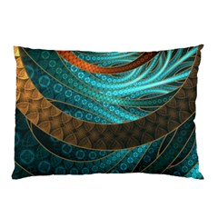 Beautiful Leather & Blue Turquoise Fractal Jewelry Pillow Case by jayaprime