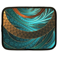 Beautiful Leather & Blue Turquoise Fractal Jewelry Netbook Case (xxl)  by jayaprime