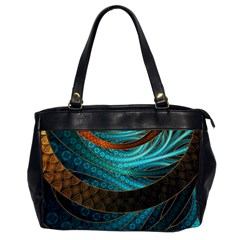 Beautiful Leather & Blue Turquoise Fractal Jewelry Office Handbags by jayaprime