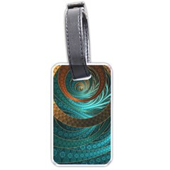 Beautiful Leather & Blue Turquoise Fractal Jewelry Luggage Tags (one Side)  by jayaprime