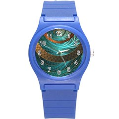 Beautiful Leather & Blue Turquoise Fractal Jewelry Round Plastic Sport Watch (s) by jayaprime