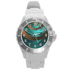 Beautiful Leather & Blue Turquoise Fractal Jewelry Round Plastic Sport Watch (l) by jayaprime