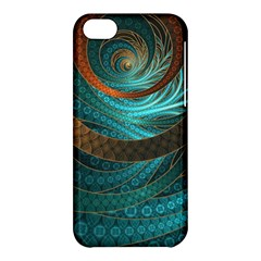 Beautiful Leather & Blue Turquoise Fractal Jewelry Apple Iphone 5c Hardshell Case by jayaprime