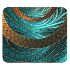 Beautiful Leather & Blue Turquoise Fractal Jewelry Double Sided Flano Blanket (small)  by jayaprime