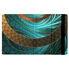 Beautiful Leather & Blue Turquoise Fractal Jewelry Apple Ipad Pro 9 7   Flip Case by jayaprime