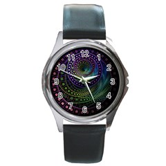 Oz The Great With Technicolor Fractal Rainbow Round Metal Watch by jayaprime