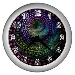 Oz The Great With Technicolor Fractal Rainbow Wall Clocks (silver)
