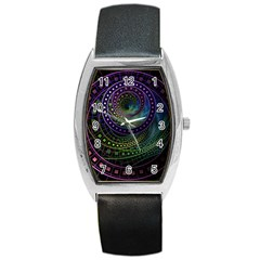 Oz The Great With Technicolor Fractal Rainbow Barrel Style Metal Watch by jayaprime