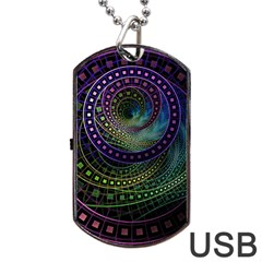 Oz The Great With Technicolor Fractal Rainbow Dog Tag Usb Flash (one Side) by jayaprime