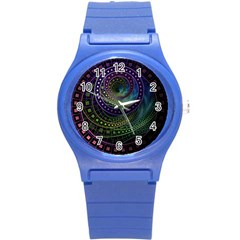 Oz The Great With Technicolor Fractal Rainbow Round Plastic Sport Watch (s) by jayaprime