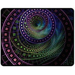 Oz The Great With Technicolor Fractal Rainbow Double Sided Fleece Blanket (medium)