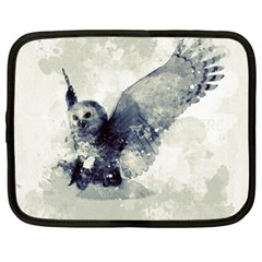 Cute Owl In Watercolor Netbook Case (xxl)  by FantasyWorld7