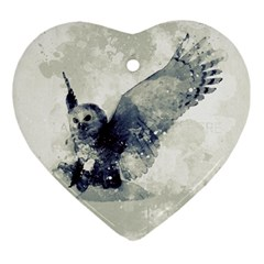 Cute Owl In Watercolor Ornament (heart) by FantasyWorld7