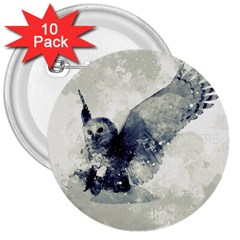 Cute Owl In Watercolor 3  Buttons (10 Pack)  by FantasyWorld7