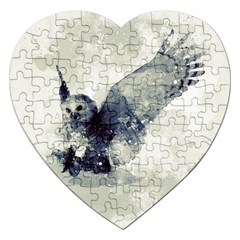 Cute Owl In Watercolor Jigsaw Puzzle (heart) by FantasyWorld7
