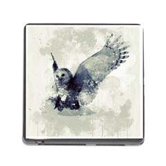 Cute Owl In Watercolor Memory Card Reader (square) by FantasyWorld7