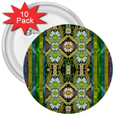 Bread Sticks And Fantasy Flowers In A Rainbow 3  Buttons (10 Pack)  by pepitasart