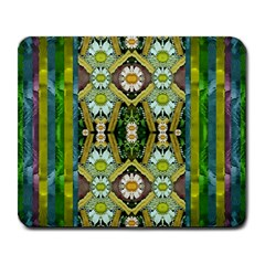 Bread Sticks And Fantasy Flowers In A Rainbow Large Mousepads