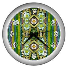 Bread Sticks And Fantasy Flowers In A Rainbow Wall Clocks (Silver)