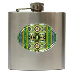 Bread Sticks And Fantasy Flowers In A Rainbow Hip Flask (6 oz)