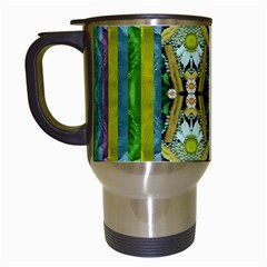 Bread Sticks And Fantasy Flowers In A Rainbow Travel Mugs (White)