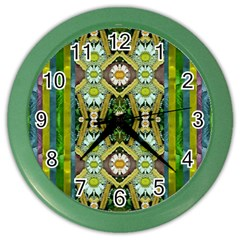 Bread Sticks And Fantasy Flowers In A Rainbow Color Wall Clocks