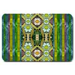 Bread Sticks And Fantasy Flowers In A Rainbow Large Doormat  by pepitasart