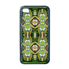 Bread Sticks And Fantasy Flowers In A Rainbow Apple iPhone 4 Case (Black)