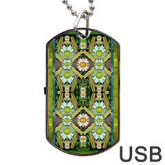 Bread Sticks And Fantasy Flowers In A Rainbow Dog Tag USB Flash (Two Sides)
