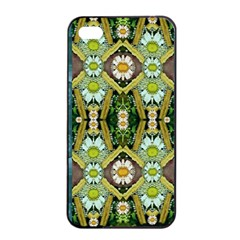 Bread Sticks And Fantasy Flowers In A Rainbow Apple iPhone 4/4s Seamless Case (Black)
