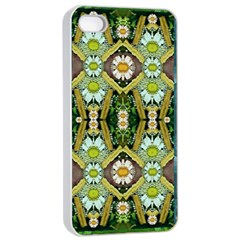Bread Sticks And Fantasy Flowers In A Rainbow Apple iPhone 4/4s Seamless Case (White)