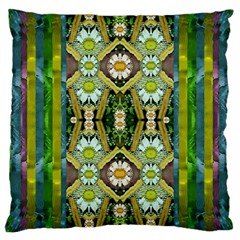 Bread Sticks And Fantasy Flowers In A Rainbow Large Cushion Case (Two Sides)