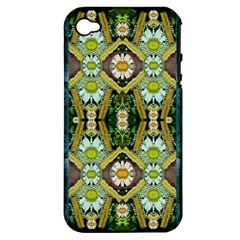 Bread Sticks And Fantasy Flowers In A Rainbow Apple iPhone 4/4S Hardshell Case (PC+Silicone)