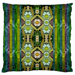 Bread Sticks And Fantasy Flowers In A Rainbow Large Flano Cushion Case (Two Sides)