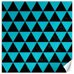 Triangle3 Black Marble & Turquoise Colored Pencil Canvas 16  X 16   by trendistuff