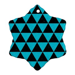Triangle3 Black Marble & Turquoise Colored Pencil Ornament (snowflake) by trendistuff