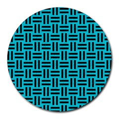 Woven1 Black Marble & Turquoise Colored Pencil Round Mousepads by trendistuff